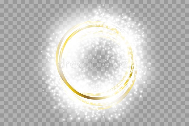 Guld- ram f?r vektor med ljuseffekter Gl?nsande rektangelbaner royaltyfri illustrationer
