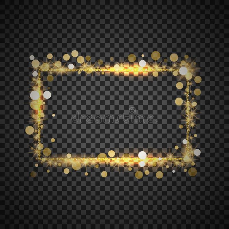 Guld- ram f?r vektor med ljuseffekter Gl?nsande rektangelbaner p? rutig bakgrund stock illustrationer