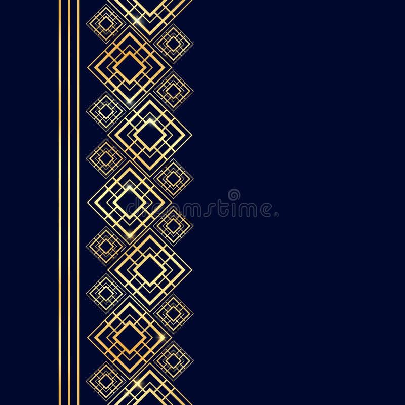 Guld- ram i lyxig stil Sömlös gräns för design Cyan och guld- bakgrund Nobelt kort med stället för text art déco stock illustrationer