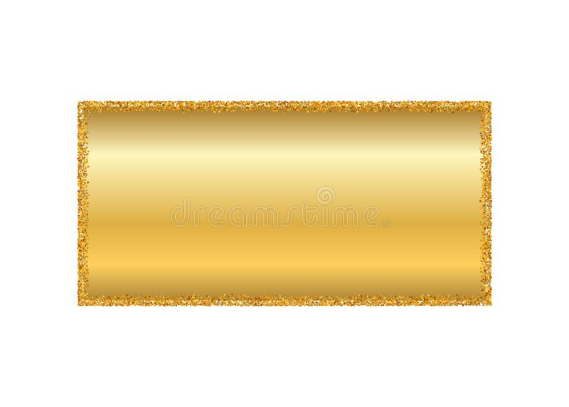 Guld- ram isolerad vit bakgrund Guld- blänka konfettitextur Guld- fyrkantig gräns, skinande lutning Ljust damm vektor illustrationer