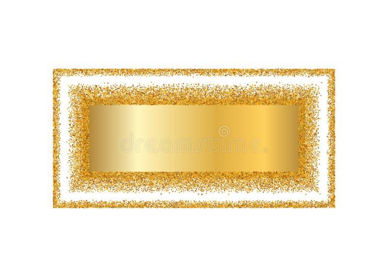 Guld- ram isolerad vit bakgrund Guld- blänka konfettitextur Guld- fyrkantig gräns, skinande lutning Ljust damm stock illustrationer