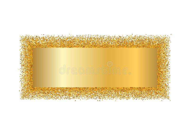 Guld- ram isolerad vit bakgrund Guld- blänka konfettitextur Guld- fyrkantig gräns, skinande lutning Ljust damm royaltyfri illustrationer