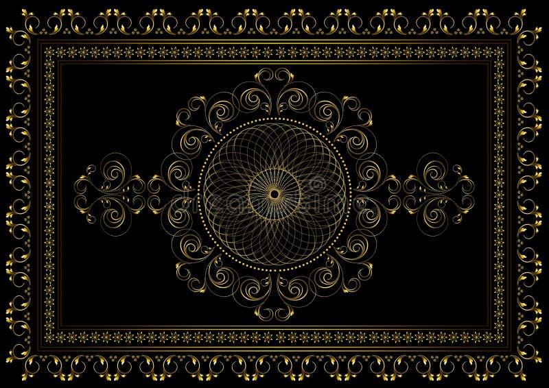Guld- ram med att gripa in i varandra på den ovala prydnaden i mitten och en gräns av krökta remsor med sidor och stjärnor i en d vektor illustrationer