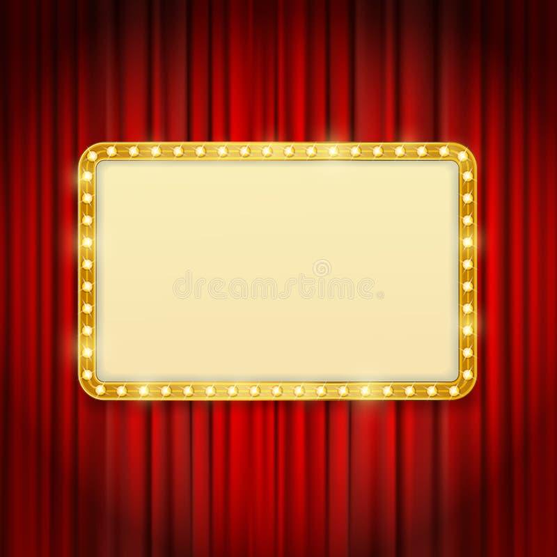 Guld- ram med ljusa kulor på röda gardiner stock illustrationer