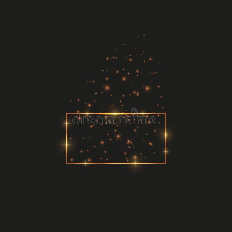 Guld- ram med ljuseffekter, glänsande lyxig banervektorillustration Glödlinje guld- ram med gnistor och royaltyfri illustrationer