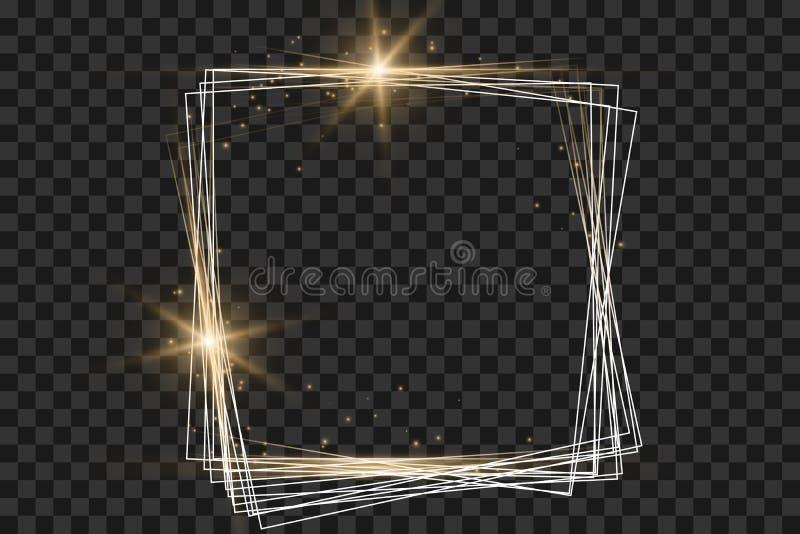 Guld- ram med ljuseffekter, glänsande lyxig banervektorillustration royaltyfri illustrationer