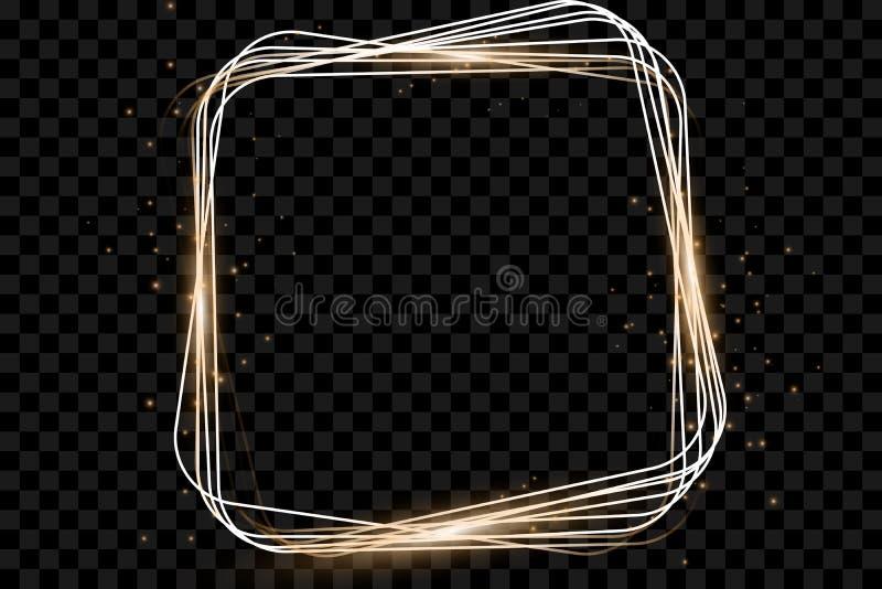 Guld- ram med ljuseffekter, glänsande lyxig banervektorillustration stock illustrationer