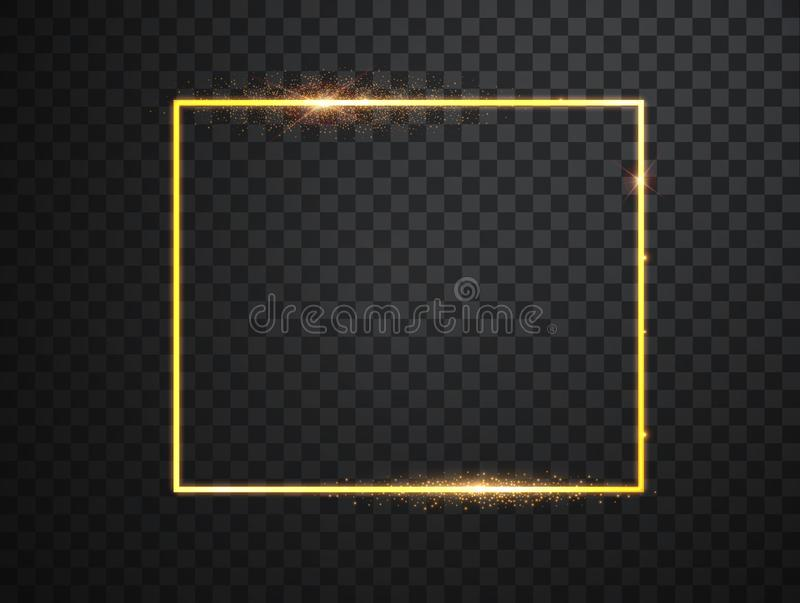Guld- ram med ljuseffekter Gl?nsande rektangelbaner Isolerat p? svart genomskinlig bakgrund vektor vektor illustrationer