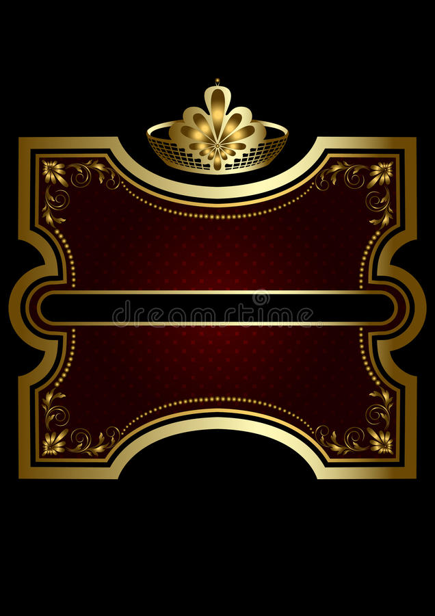 Guld- ram med skinande burgundy bakgrund med en guld- krona vektor illustrationer