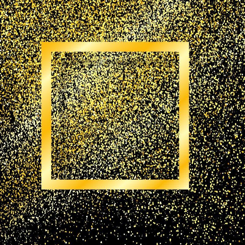 Guld- ram med skugga som isoleras på svart bakgrund, med festligt nytt år för guldstoft, julram blänka guld vektor royaltyfri illustrationer