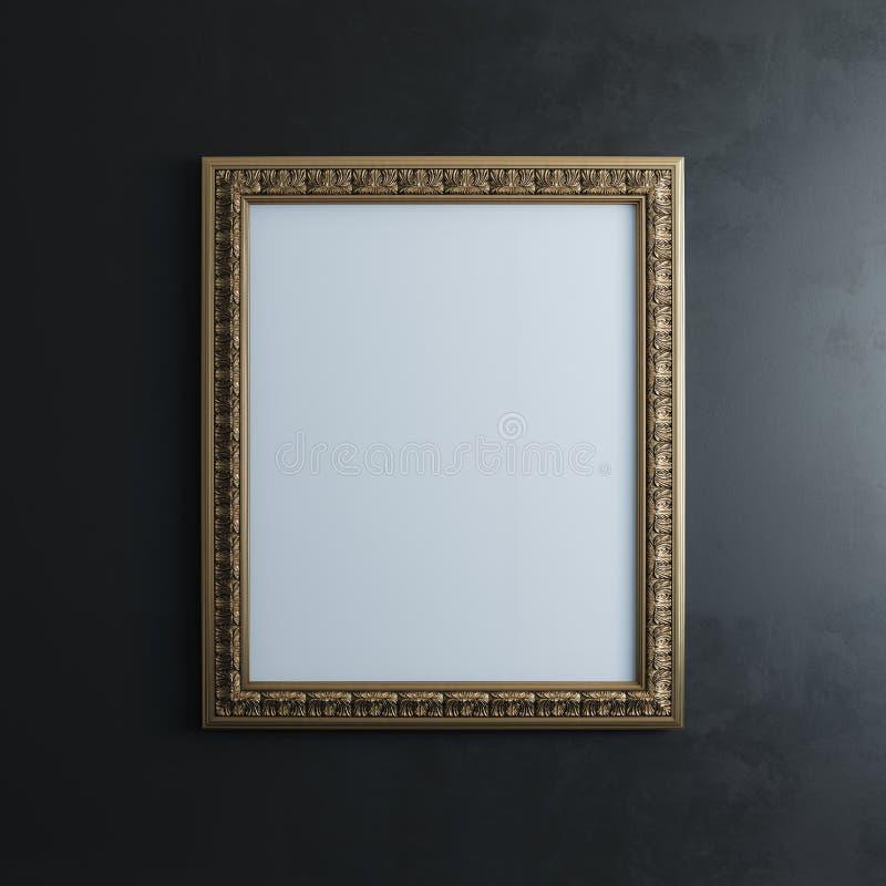 Guld- ram på den svarta väggen (den vertikala versionen för rektangeln) royaltyfri foto