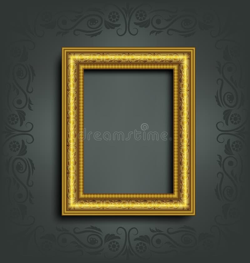 Guld- ram på grå färger vektor illustrationer