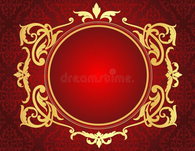 Guld- ram på röd damast modellbakgrund vektor illustrationer