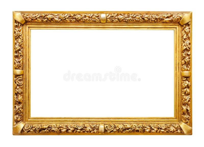 Guld- ram på vit arkivbild