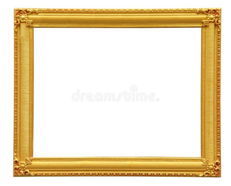 Guld- ram som isoleras med den snabba banan royaltyfri bild