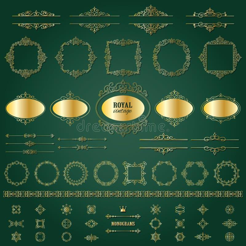 Guld- ramar för tappning, mega uppsättning för avdelare stock illustrationer