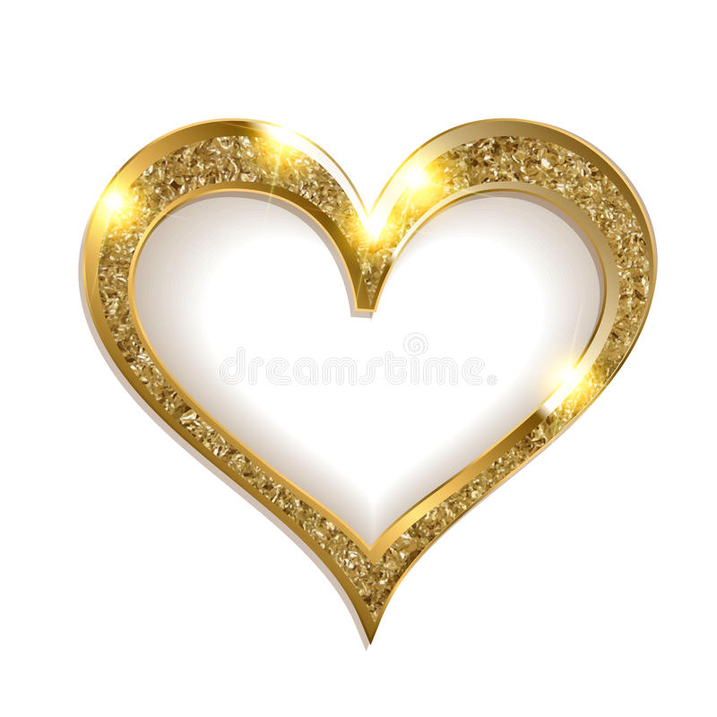 Guld- ramhjärta på en vit bakgrund vektor illustrationer