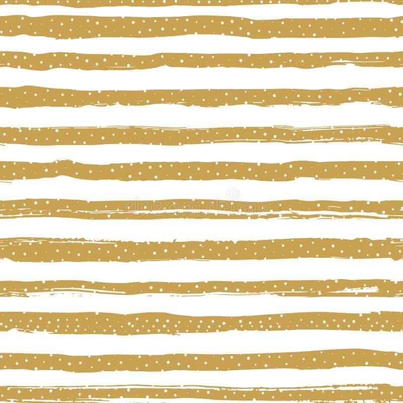 Guld- randig sömlös modell, konfettier eller snöflingor Geometrisk bakgrund för moderiktig ferie Guld- band på en vit vektor illustrationer