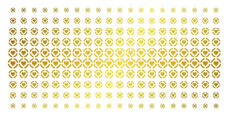 Guld- rastrerad effekt för kasinohjärtor vektor illustrationer