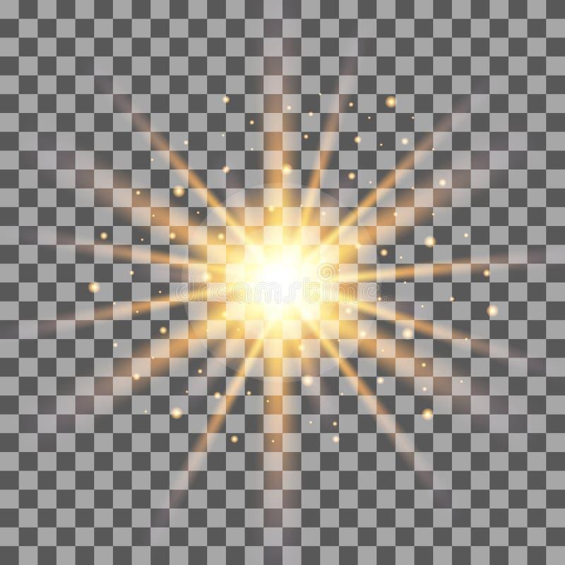 Guld rays ljus effekt på genomskinlig bakgrund stock illustrationer