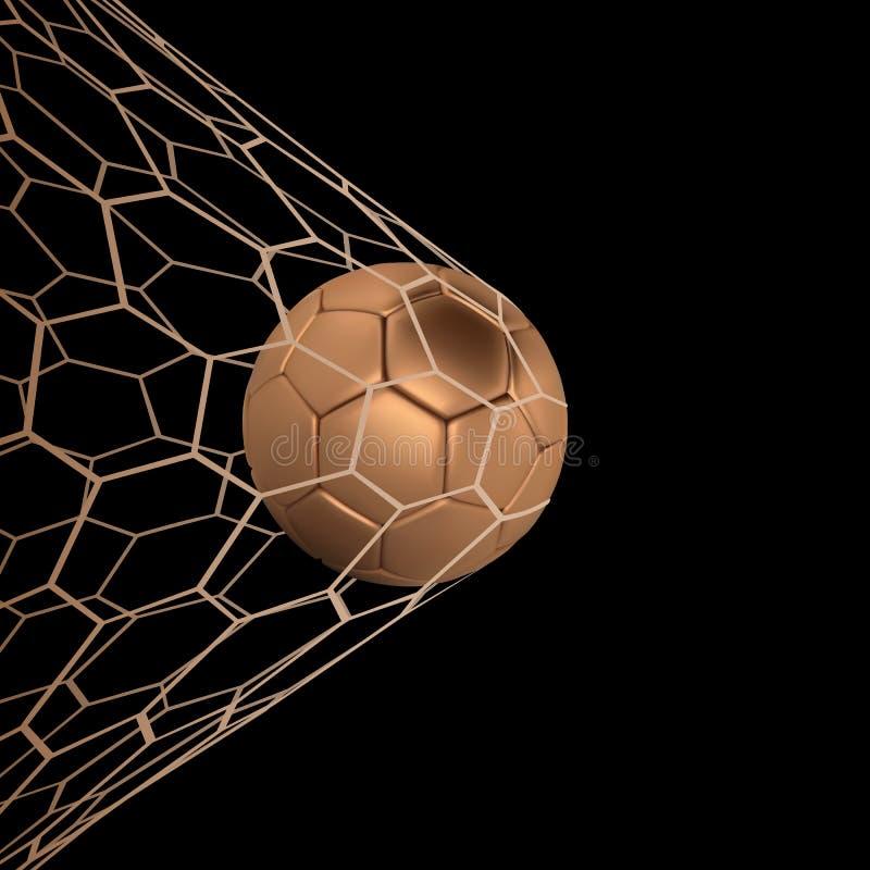 Guld- realistisk fotbollboll för vektor eller fotbollboll i netto på svart bakgrund vektorboll för stil 3d vektor illustrationer