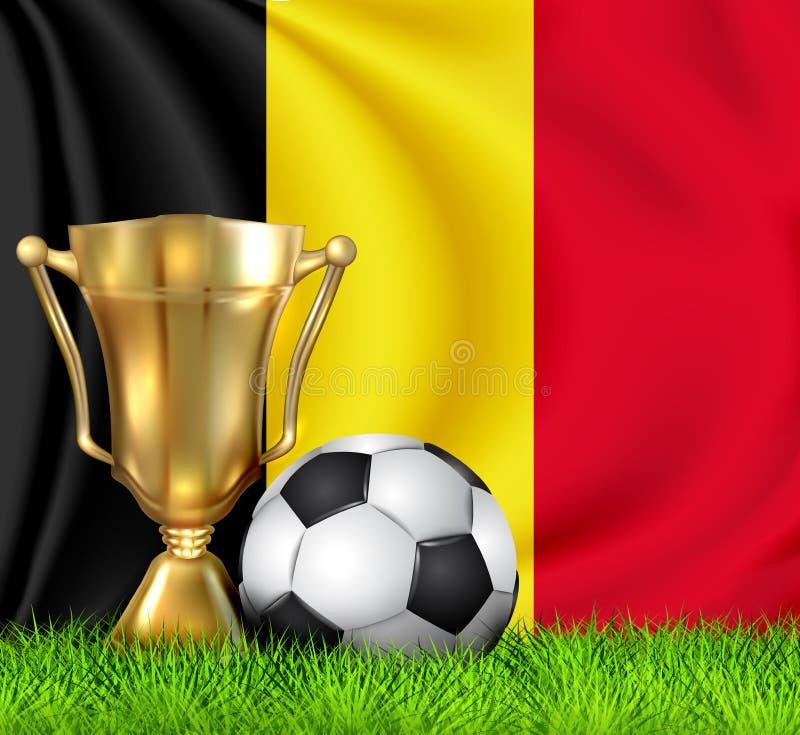 Guld- realistisk vinnaretrofékopp och fotbollboll som isoleras på den medborgareBELGIEN flaggan Landslaget är vinnaren av fotboll vektor illustrationer