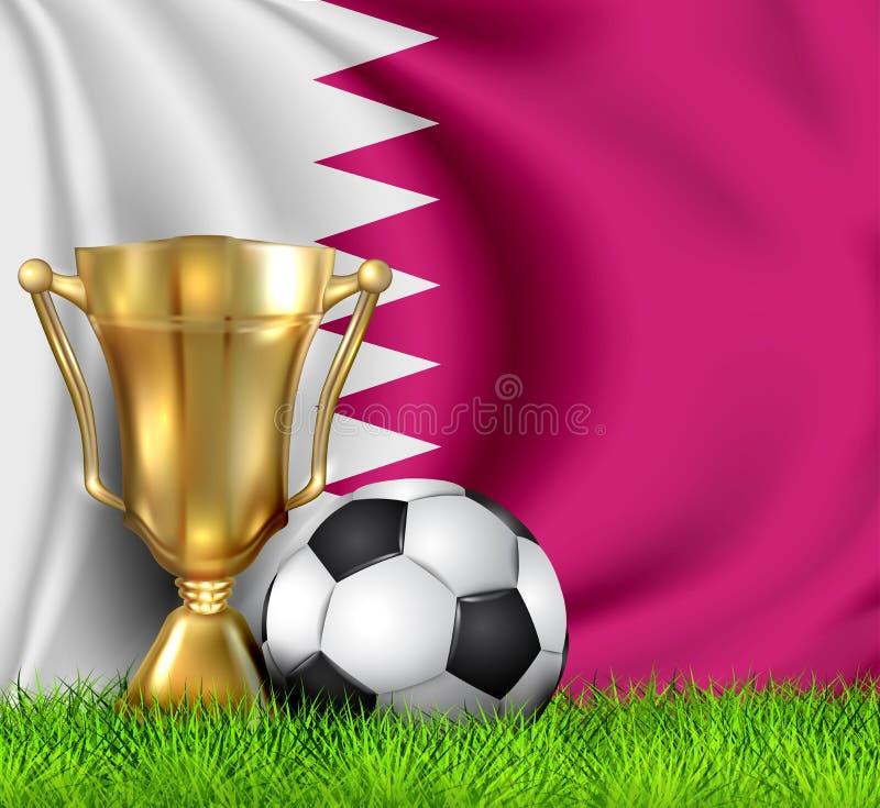 Guld- realistisk vinnaretrofékopp och fotbollboll som isoleras på nationell QATARISK flagga Landslaget är vinnaren av fotbollen stock illustrationer