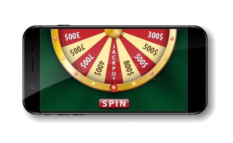 Guld- realistiskt hjul av förmögenhet med smartphonen som isoleras på vit för roulettvektor för kasino 3d online-lycklig illustra royaltyfri illustrationer