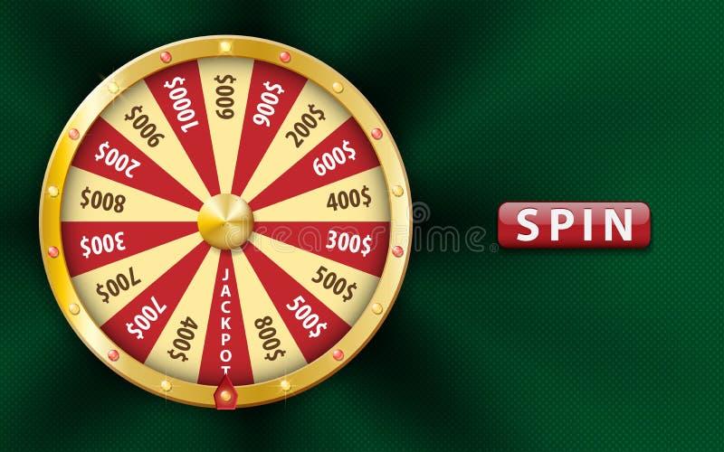 Guld- realistiskt hjul för förmögenhet 3d, lycklig modig snurrande, lyxig roulett på grön bakgrund Kasinobakgrund för pengar stock illustrationer