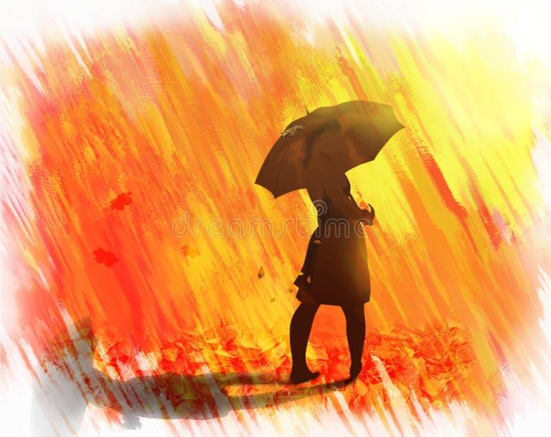 Guld- regn från höstsidor royaltyfri illustrationer