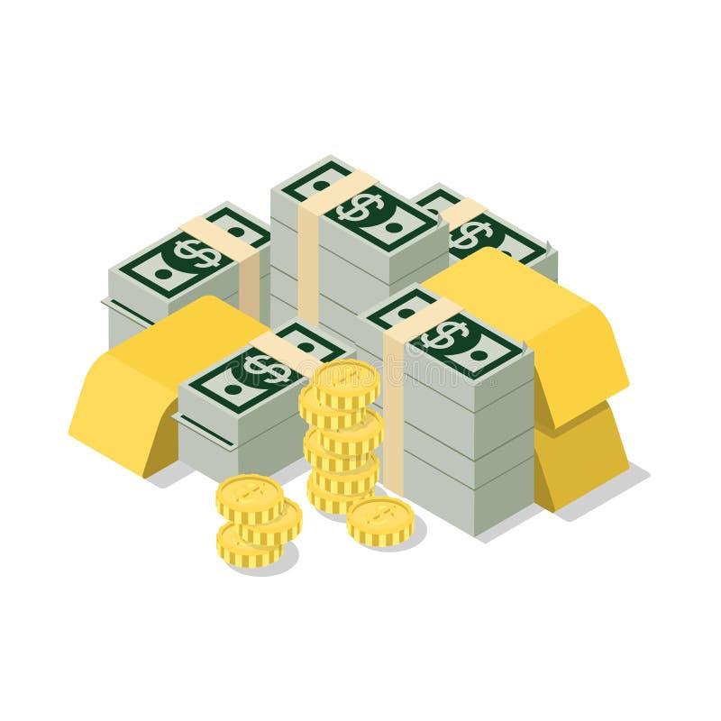 Guld- rengöringsduk för plant isometriskt för högdollar för vektor 3d mynt för sedel royaltyfri illustrationer