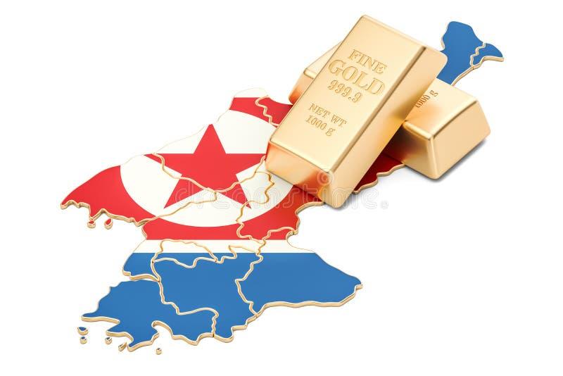 Guld- reserver av det Nordkorea begreppet, tolkning 3D royaltyfri illustrationer