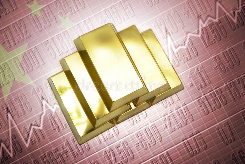 guld- reserver för porslin royaltyfri illustrationer