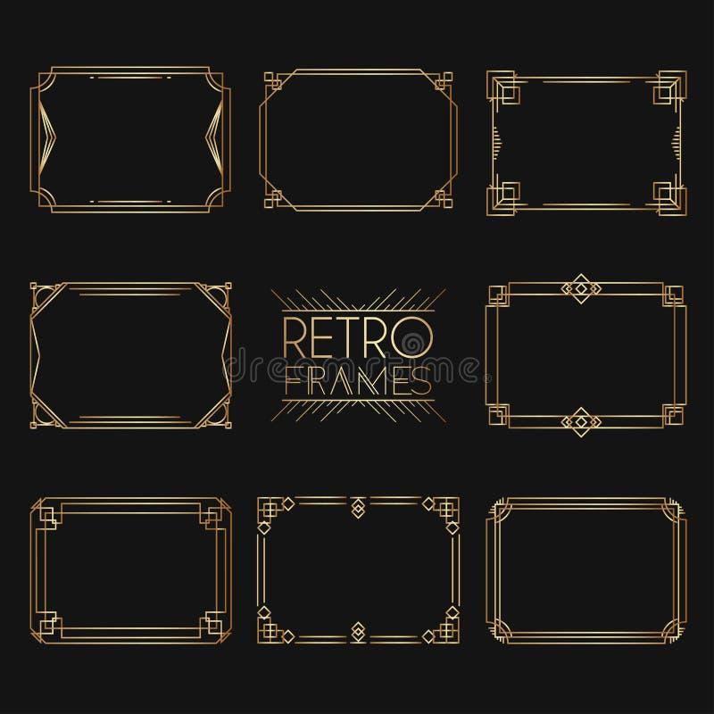 Guld- retro ramar Stil av 20-tal Samling av guld- högvärdigt stock illustrationer