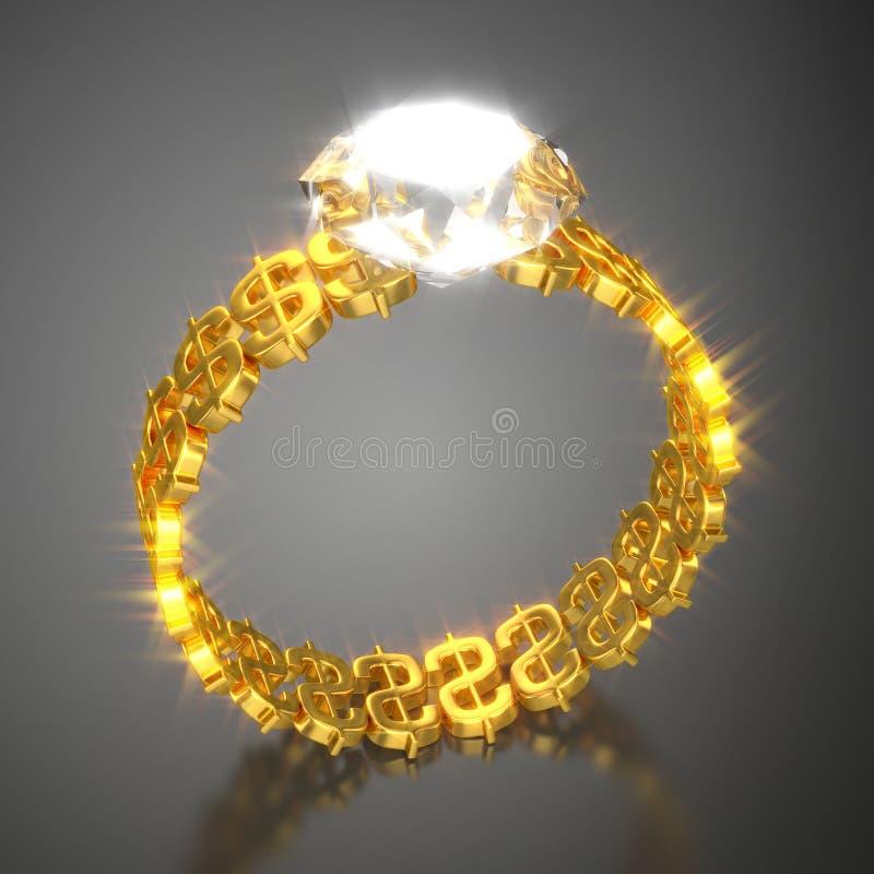 Guld- Ring Dollars och diamant vektor illustrationer