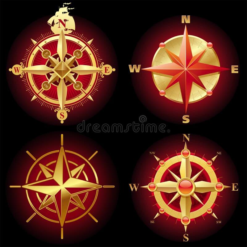 guld- rose vektor för kompass royaltyfri illustrationer