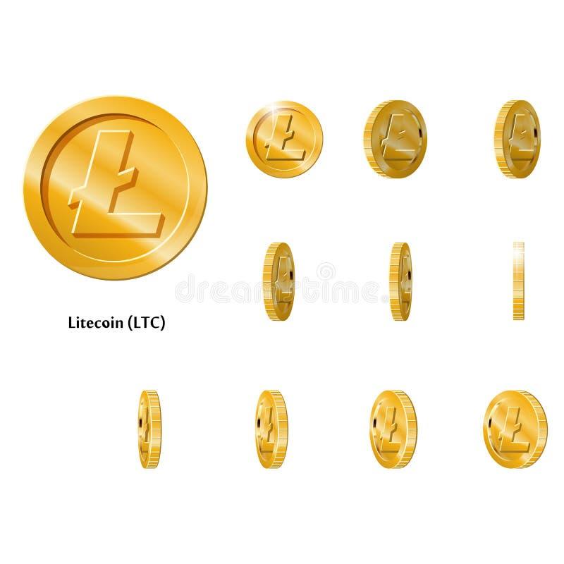 Guld roterar Litecoin ramar vektor illustrationer