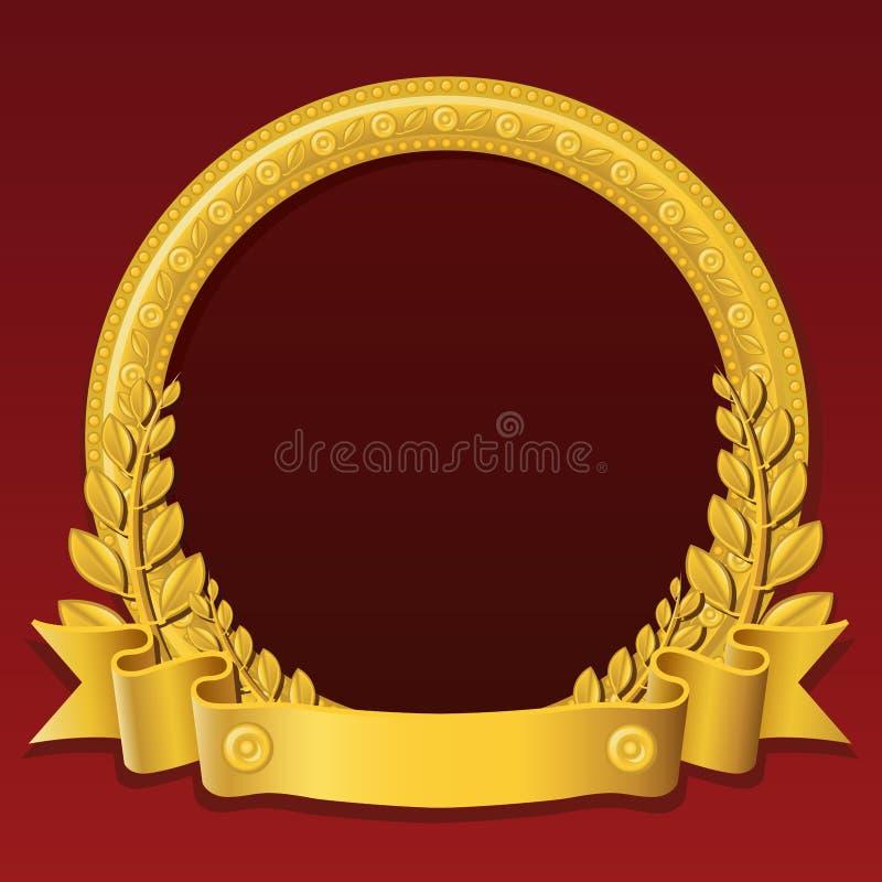 guld- round för ram stock illustrationer