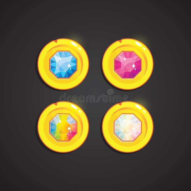 Guld- runda tillgångar med den färgrika kristallen inom Tecknad filmfantasimynt med ädelstenar royaltyfri illustrationer