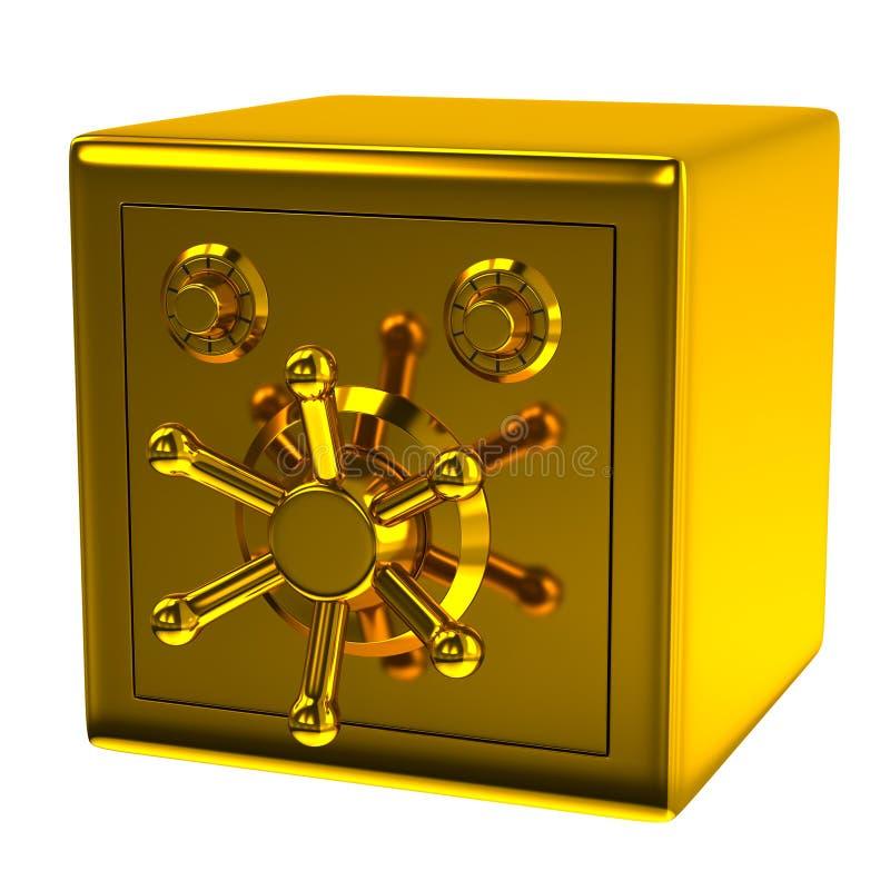 Guld- säkerhetskassaskåp stock illustrationer