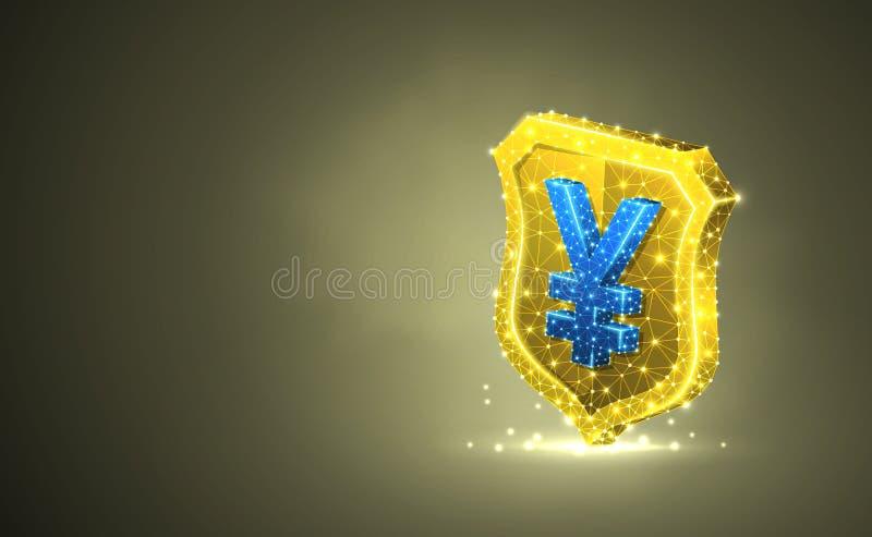 Guld- säkerhetssköld med valutatecknet för japansk yen, abstrakt färgrik illustration 3d Polygonal vektoraffär vektor illustrationer
