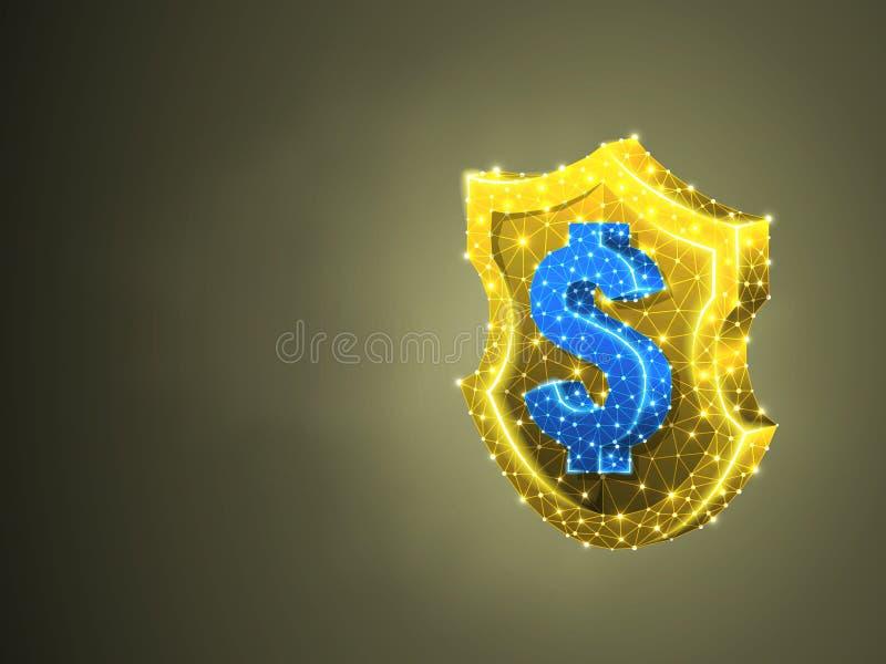 Guld- säkerhetssköld, USD abstrakt begrepp färgrik 3d Polygonal vektoraffärssafery, pengarskyddsbegrepp lågt poly stock illustrationer