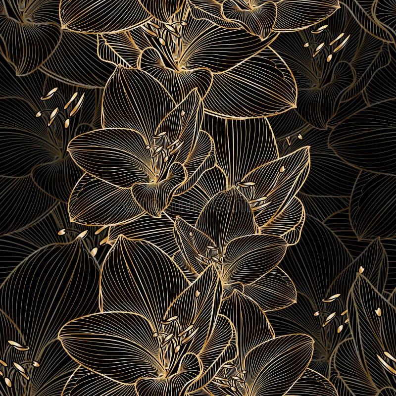 Guld- sömlös hand-teckning blom- bakgrund med blommaamarylliets fotografering för bildbyråer