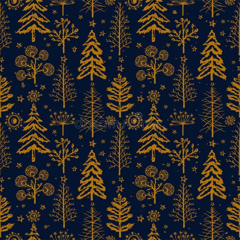 Guld- sömlös julmodell för vinter för förpackande papper för design, vykort, textiler royaltyfri illustrationer