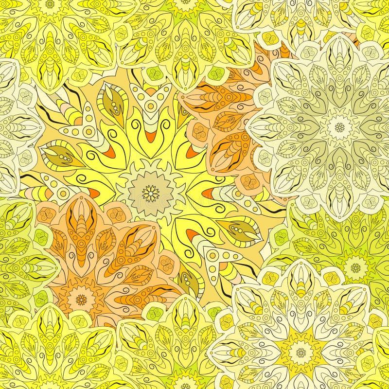 Guld- sömlös modell med den östliga blom- prydnaden Blom- orientalisk design i aztecen, turk, Pakistan, indier, kines vektor illustrationer