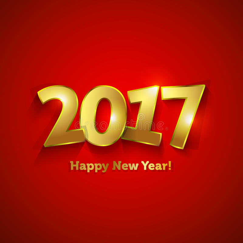 Guld- 2017 sött hälsningkort för lyckligt nytt år royaltyfri illustrationer
