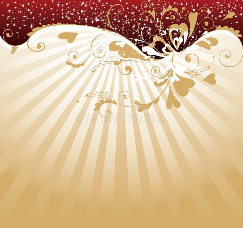 guld- s valentin för bakgrundsdag royaltyfri illustrationer