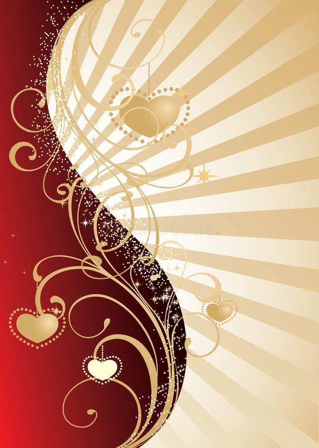 guld- s valentin för bakgrundsdag vektor illustrationer