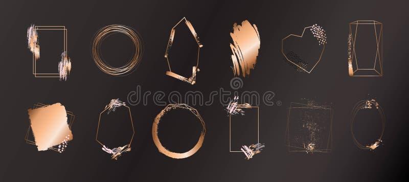 Guld- samling av den geometriska ramen Dekorativ beståndsdel för logo som brännmärker, kort, inbjudan royaltyfri illustrationer