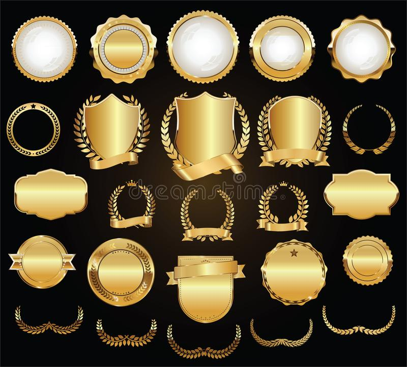 Guld- samling för för sköldlagerkransar och emblem stock illustrationer